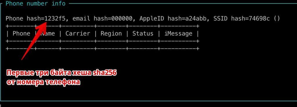 Перехваченный BLE-пакет с хешем номера телефона, с помощью утилиты read_ble_state.py