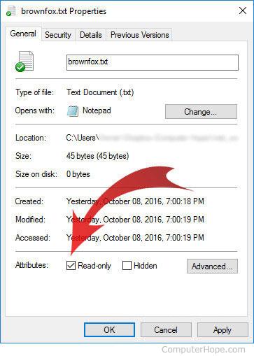 Атрибут только для чтения, указанный в окне свойств файла Windows 10.
