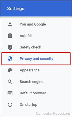 Селектор конфиденциальности и безопасности.