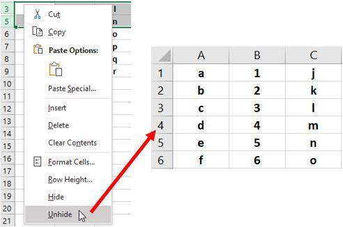 Показать скрытую строку в Excel