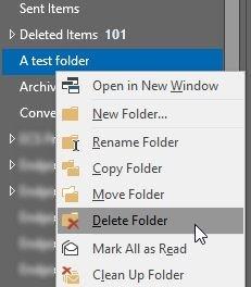 Удалить папку в Outlook