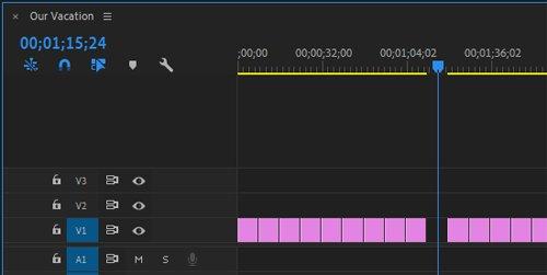 Премьера удалить клип с шкалы времени