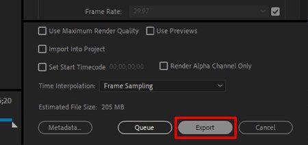 Настройки экспорта Premiere