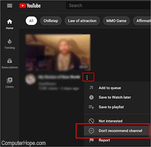 YouTube удалить рекомендуемый канал