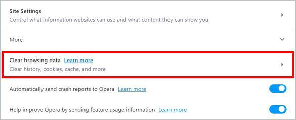 Очистить селектор данных просмотра в Opera