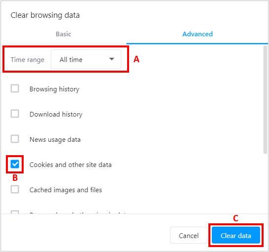 Очистить файлы cookie и другие данные сайтов в Opera