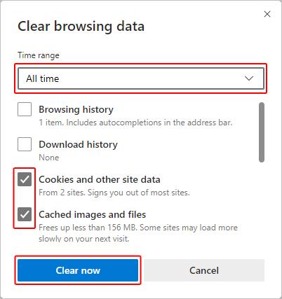Очистка кеша и файлов cookie в Edge.