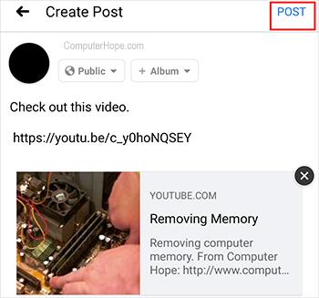 Сообщение в Facebook для Android