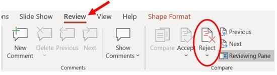 Параметр отклонения PowerPoint на вкладке
