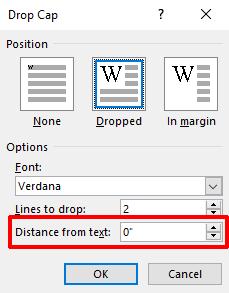 Расстояние буквицы слова от текста
