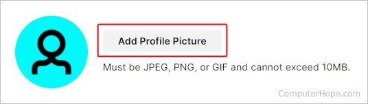 Кнопка добавления изображения профиля