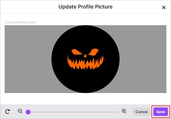 Параметры изображения профиля Twitch.