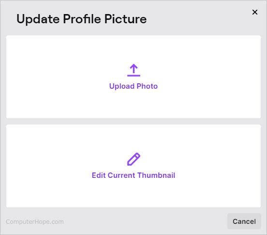 Обновление параметров профиля на Twitch.