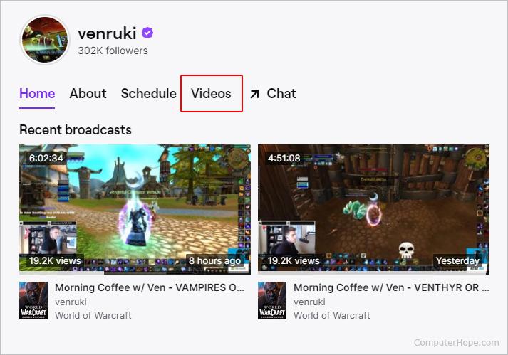 Селектор видео на Twitch.