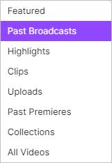 Селектор прошлых трансляций на Twitch.
