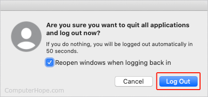 Кнопка выхода в macOS.