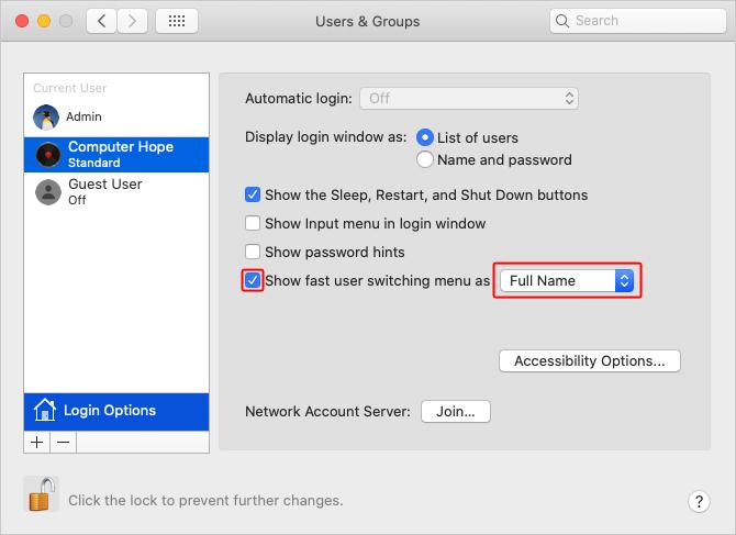 Новый пользователь в macOS.