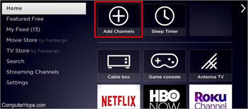 Roku добавить каналы