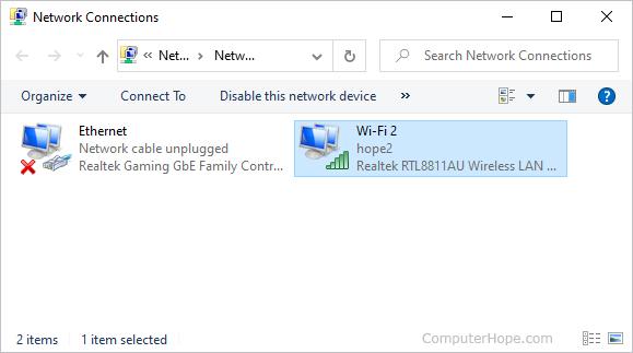 Список сетевых подключений в Windows 10.