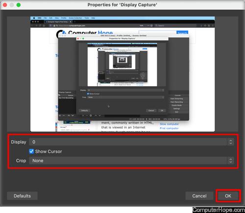 Настройки OBS Studio Display Capture